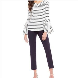 Gibson Latimer Striped Top w/Bell Sleeves